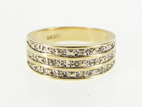 10K Tiered Textured Two Tone Diamond Accent Band Yellow Gold Ring, Size 7