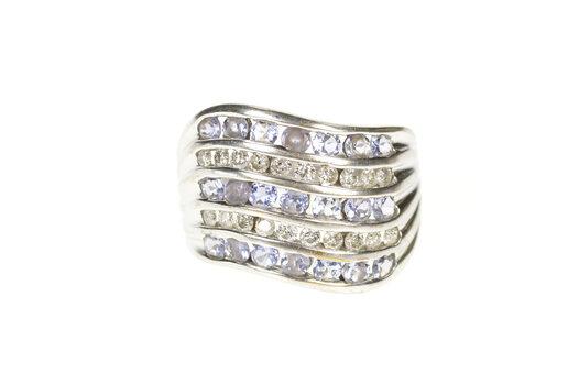 10K Tiered Wavy Row Tanzanite Diamond Statement White Gold Ring, Size 7.25
