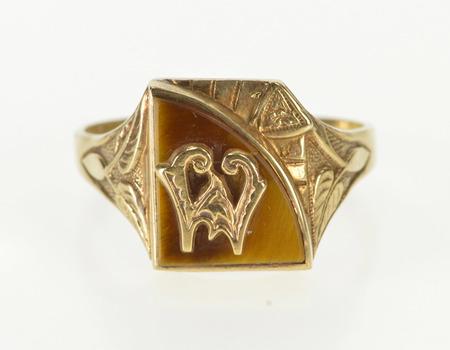 10K Tiger's Eye 1930's Ornate W Monogram Men's Yellow Gold Ring, Size 11.25