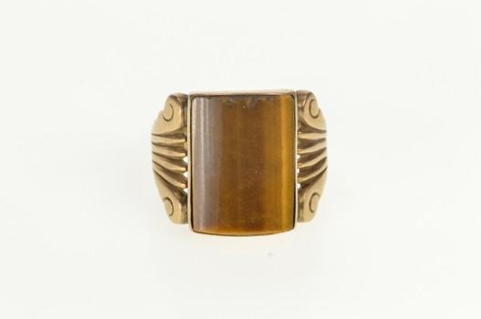10K Tiger's Eye Inset 1930's Men's Statement Yellow Gold Ring, Size 10.25