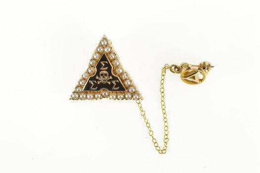 10K Tri Sigma Sigma Sigma Seed Pearl Lapel Yellow Gold Pin/Brooch