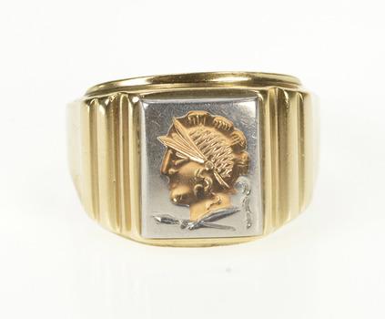 10K Tri Tone Stamped Intaglio Ornate Retro Yellow Gold Ring, Size 9.25