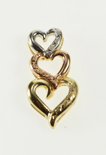 10K Tri Tone Textured Tiered Heart Love Symbol Yellow Gold Pendant