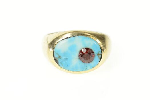 10K Turquoise Garnet Ornate Men's Statement Yellow Gold Ring, Size 8.75
