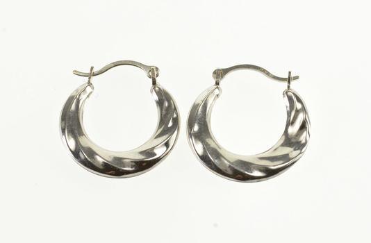 10K Twist Design Puffy Hollow Hoop White Gold EarRings