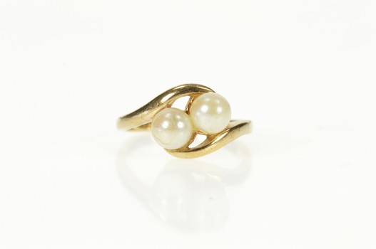 10K Two 5.7mm Pearl Inset Bypass Wavy Yellow Gold Ring, Size 6