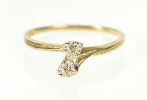 10K Two Stone Diamond Retro Heart Bypass Yellow Gold Ring, Size 6.25