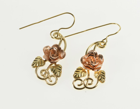 10K Two Tone 3D Rose Leaf Accent Dangle Hook Yellow Gold Earrings