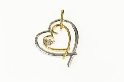 10K Two Tone Diamond Heart Love Symbol White Gold Pendant