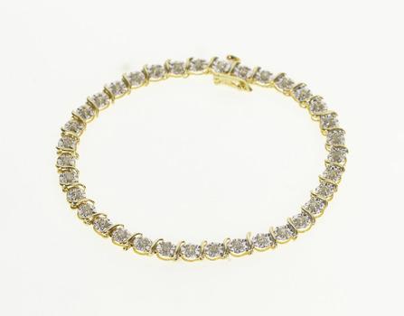 "10K Two Tone Diamond Inset Fancy Tennis Yellow Gold Bracelet 7"""