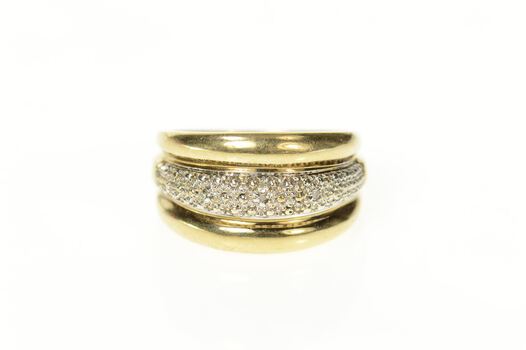 10K Two Tone Graduated Textured Diamond Band Yellow Gold Ring, Size 6.25
