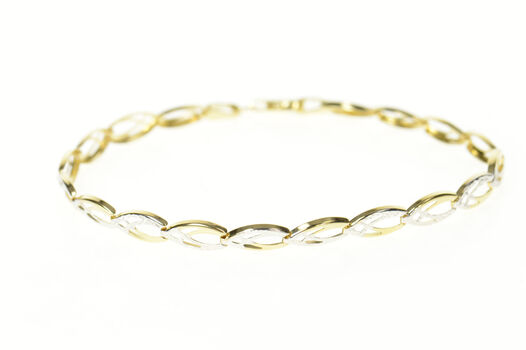 10K Two Tone Pointed Oval Link Fancy Chain Yellow Gold Bracelet 7""