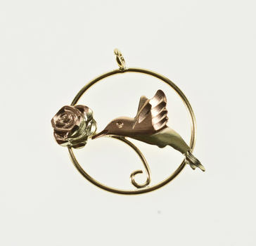 10K Two Tone Round Hummingbird Flower Yellow Gold Charm/Pendant