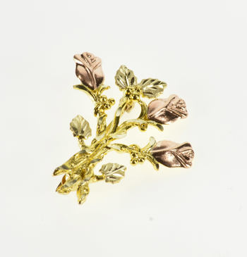 10K Two Tone Stylized Rose Bouquet Cluster Yellow Gold Pin/Brooch