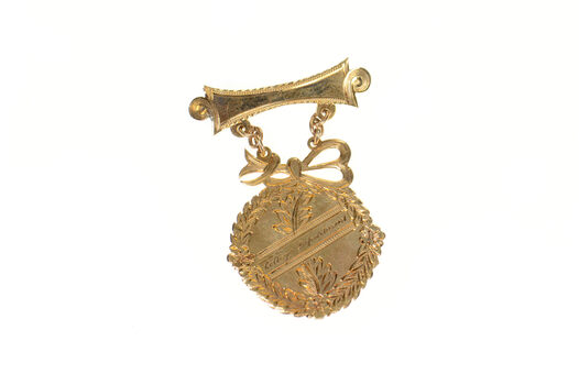 10K Victorian College Department Languages 1st Prize Yellow Gold Pin/Brooch
