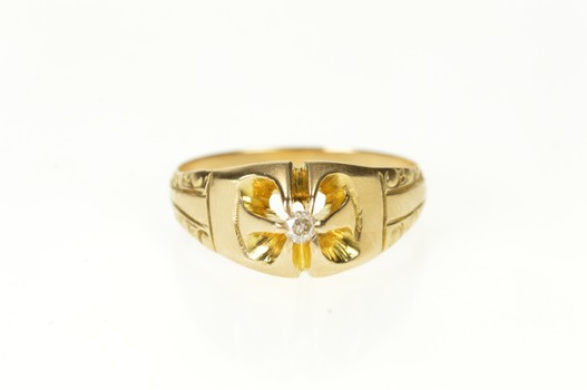 10K Victorian Gypsy Diamond Solitaire Ornate Yellow Gold Ring, Size 8.25