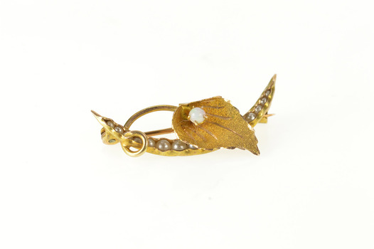 10K Victorian Moon Pearl Peas in a Pod Lily Yellow Gold Pin/Brooch