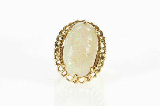 10K Victorian Natural Opal Huge Statement Cocktail Yellow Gold Ring, Size 7.5