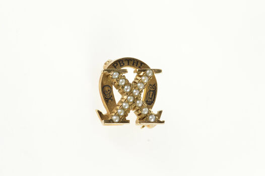 10K Victorian Omega Chi Seed Pearl Enamel X Lapel Yellow Gold Pin/Brooch