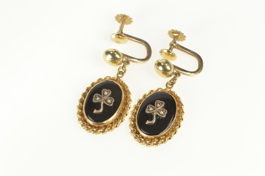 10K Victorian Onyx Seed Pearl Clover Screw Back Yellow Gold Earrings