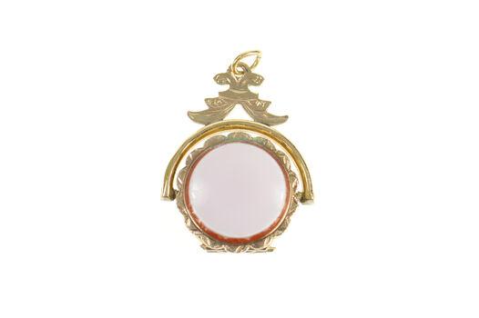 10K Victorian Ornate Agate Locket Pocket Watch Fob Yellow Gold Pendant