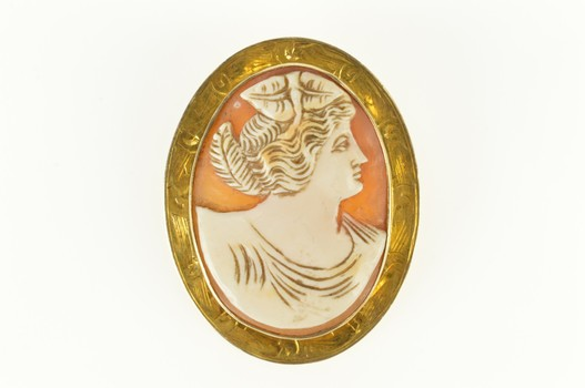 10K Victorian Ornate Carved Lady Cameo Etched Yellow Gold Pin/Brooch