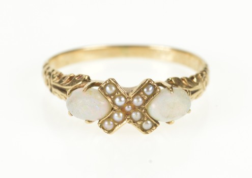 10K Victorian Ornate Natural Opal Seed Pearl X Yellow Gold Ring, Size 6.25