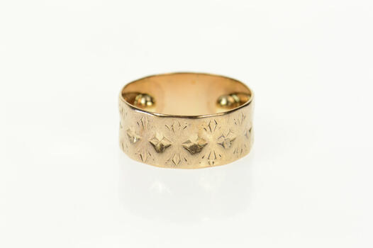 10K Victorian Ornate Patterned Statement Band Yellow Gold Ring, Size 7.75