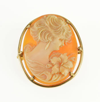 10K Victorian Ornately Carved Shell Cameo Yellow Gold Pin/Brooch
