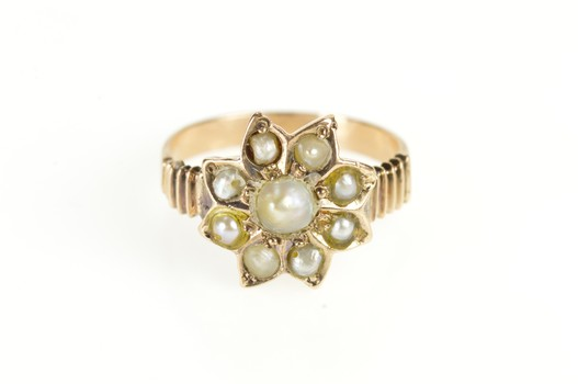 10K Victorian Pearl Flower Cluster Statement Yellow Gold Ring, Size 5.5