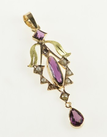 10K Victorian Seed Pearl Amethyst Ornate Yellow Gold Pendant