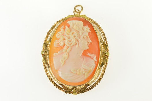 10K Victorian Seed Pearl Carved Lady Cameo Yellow Gold Pendant/Pin