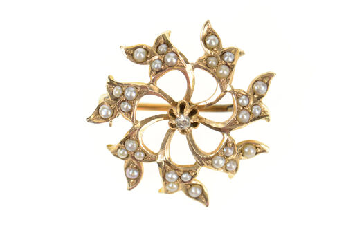 10K Victorian Seed Pearl Scroll Diamond Yellow Gold Pendant/Pin