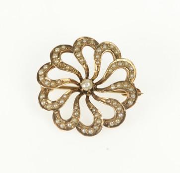 10K Victorian Seed Pearl Swirl Sun Floral Ornate Yellow Gold Pin/Brooch