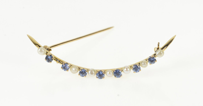10K Victorian Sim. Sapphire Seed Pearl Crescent Moon Yellow Gold Pin/Brooch