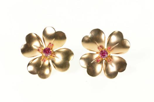 10K Victorian Syn. Ruby Dogwood Flower Screw Back Yellow Gold Earrings