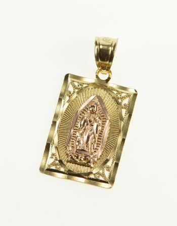 10K Virgin Mother Mary Lady Guadalupe Christian Yellow Gold Pendant