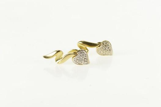 10K Wave Ribbon Diamond Heart Dangle Yellow Gold Earrings