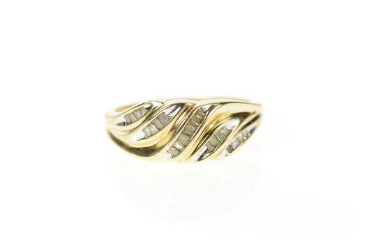 10K Wavy Baguette Diamond Statement Band Yellow Gold Ring, Size 7