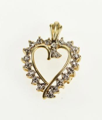 10K Wavy Diamond Accent Curvy Heart Anniversary Yellow Gold Pendant