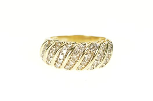 10K Wavy Diamond Encrusted Striped Statement Band Yellow Gold Ring, Size 9.5
