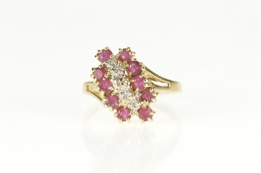 10K Wavy Diamond Ruby Halo Cluster Bypass Yellow Gold Ring, Size 6