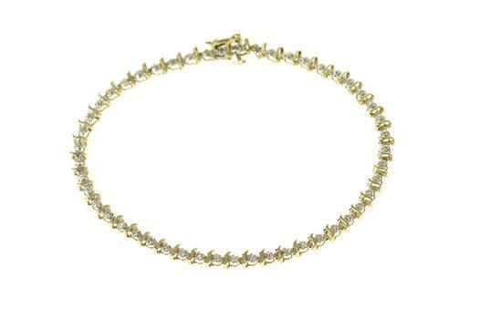 "10K Wavy Link Classic Diamond Tennis Yellow Gold Bracelet 7.75"""