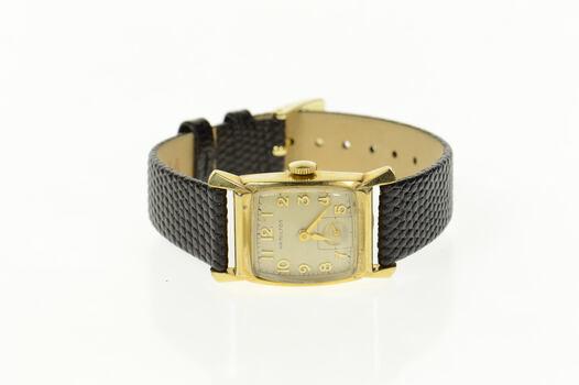 10KGF Hamilton 20.5x19.4mm Face Leather Strap Watch - Women's