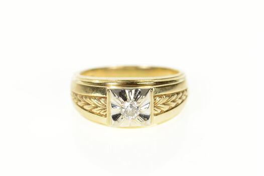 14K 0.15 Ct Men's Art Deco Diamond Wedding Yellow Gold Ring, Size 9.25