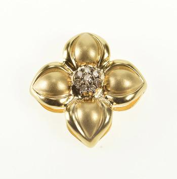 14K 0.15 Ctw Diamond Dogwood Flower Satin Finish Yellow Gold Pendant