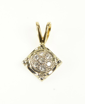14K 0.15 Ctw Diamond Inset Square Cluster Yellow Gold Pendant
