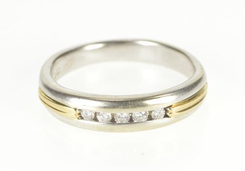 14K 0.15 Ctw Two Tone Diamond Men's Wedding Band White Gold Ring, Size 11.75