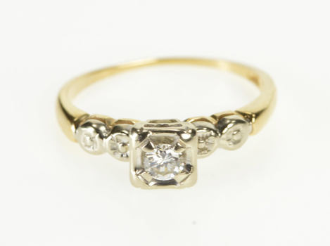 14K 0.18 Ct Diamond Solitaire 1960's Engagement Yellow Gold Ring, Size 6