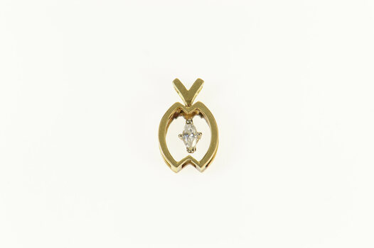 14K 0.18 Ct Marquise Diamond Geometric Statement Yellow Gold Pendant